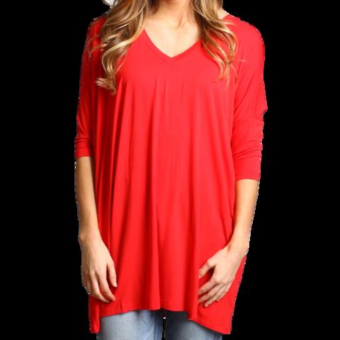 Red Piko V-Neck Half Sleeve Tunic - Bamboo & Organic Clothing - PIKO - 1
