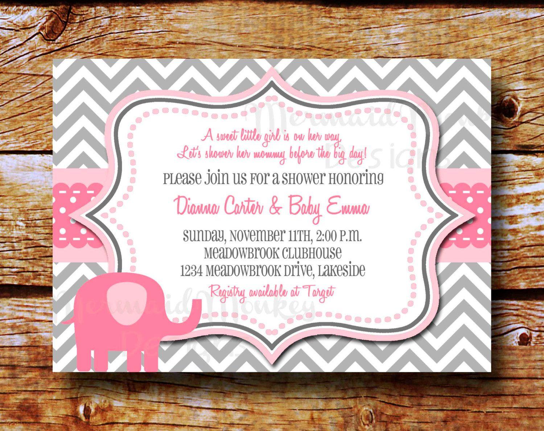Elephant Baby Shower Invitation - Chevron Invitation - Baby Girl ...