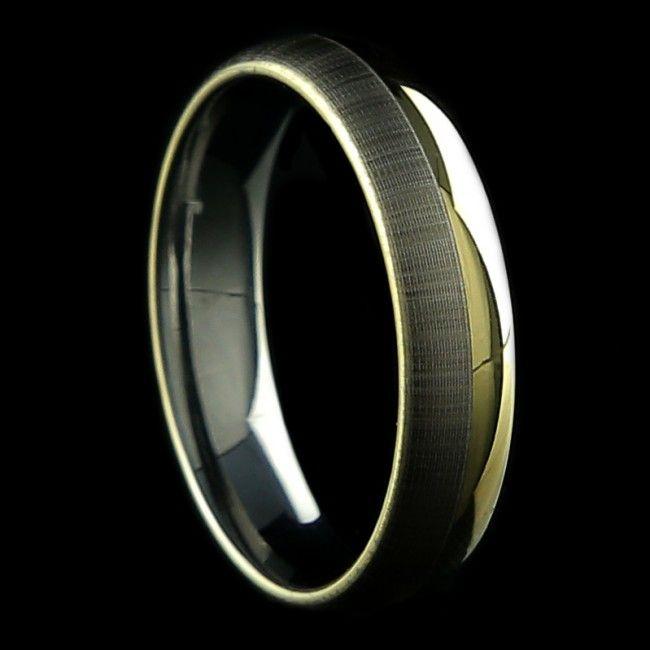 Alianca Psique 5mm Tungstenio Ouro E Prata Aliancas Aliancas De
