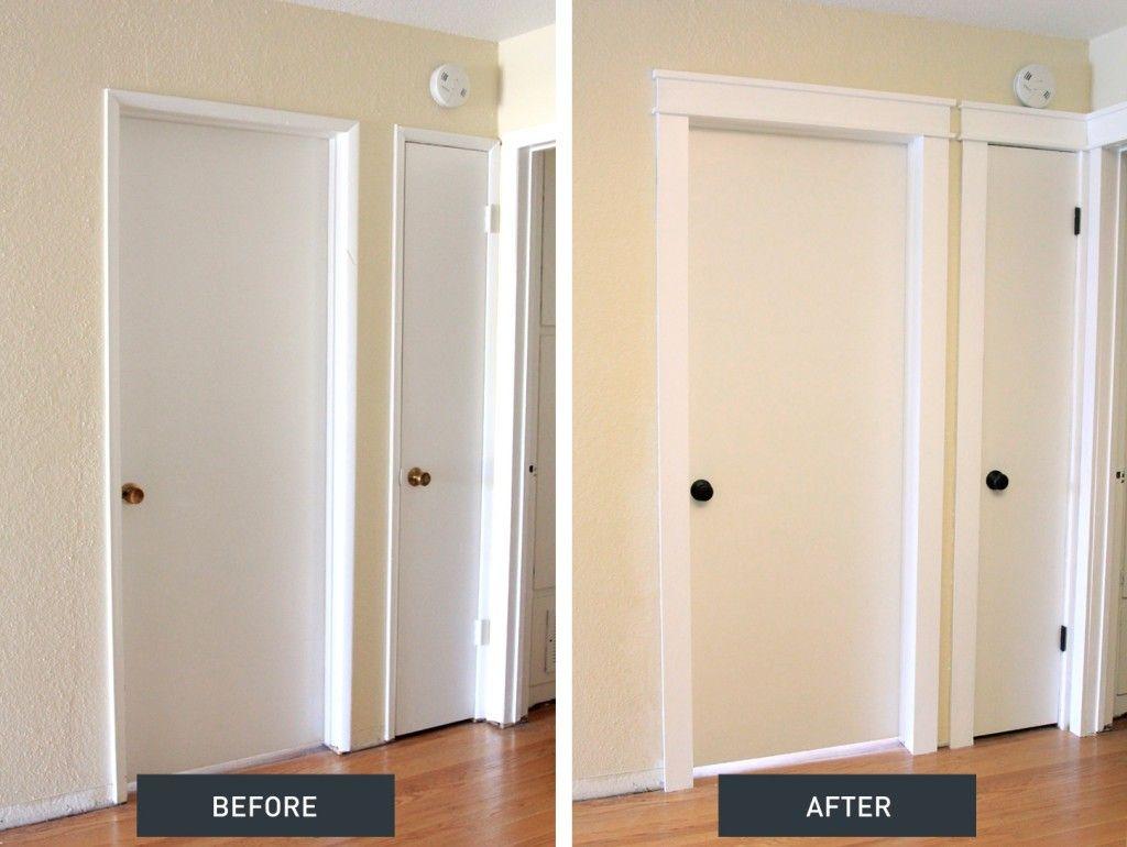 Diy Craftsman Door Trim Tutorial On How To Update Old Door Frames On Your Own Craftsman Style Doors Interior