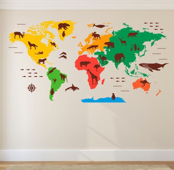 world map wall decal animal outlines - nursery wall decals - kids