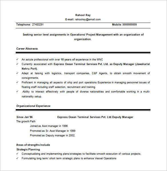 Assistant Manager Resume Format Inspiration Senior Project Manager Word Free  Senior Project Manager Resume .