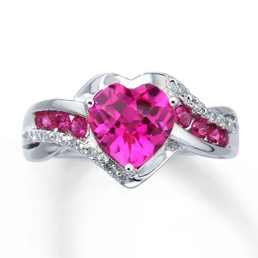 443cd5a04fa719 PINK HEART SAPHIRE | Kay - Lab-Created Sapphire Ring Diamond Accents Sterling  Silver