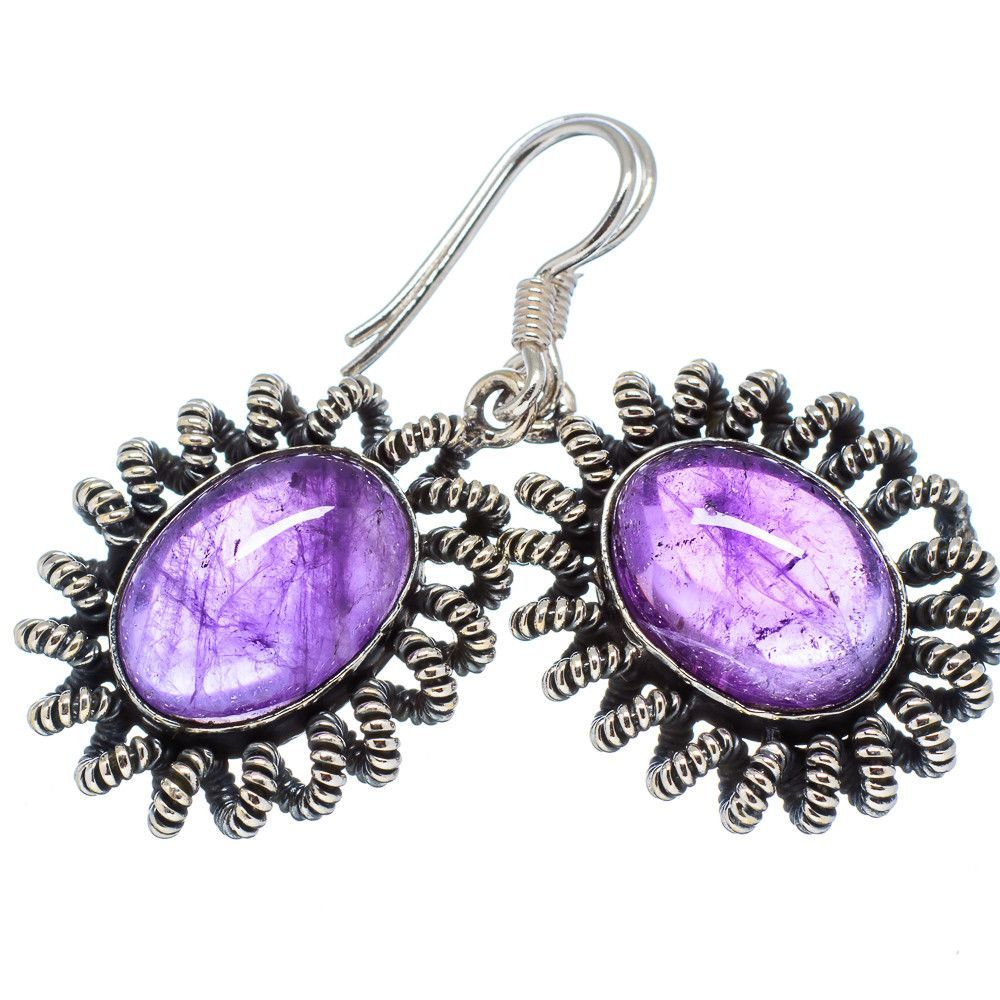 "Amethyst 925 Sterling Silver Earrings 1 1/2"" EARR329926"