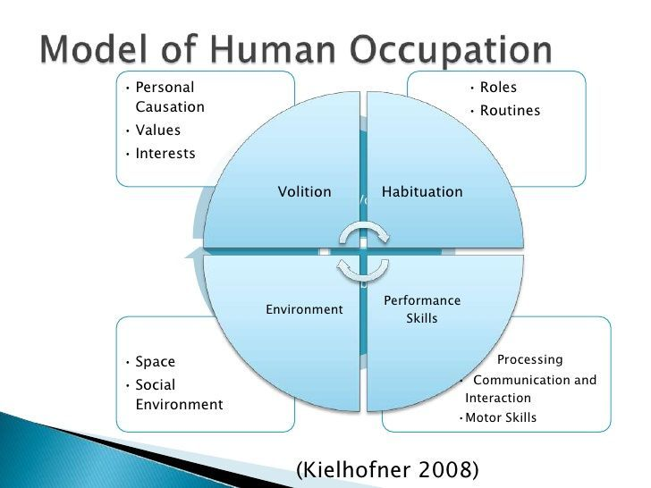 introduction to model of human occupation Introduction conceptual models used by occupational therapists working with  patients with pd include the model of human occupation [2],.