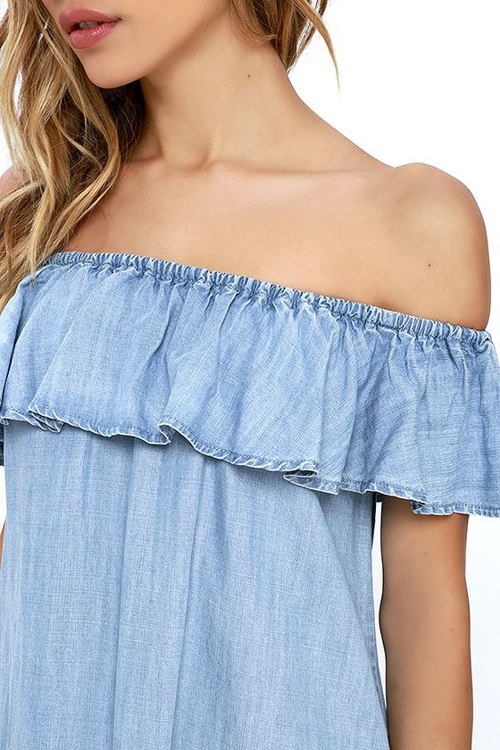 5228bd162a80 Standout Style Light Blue Chambray Off-the-Shoulder Dress at Lulus.com!
