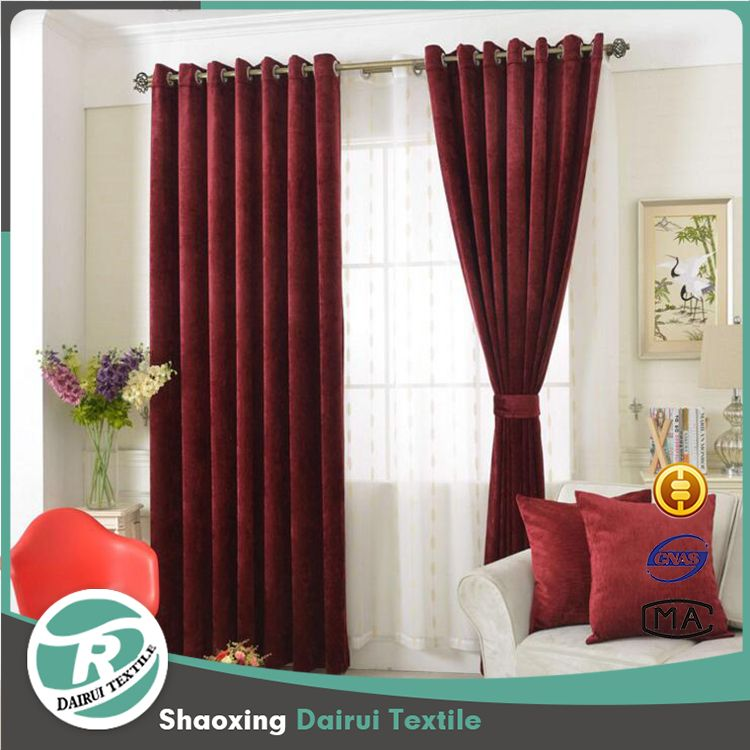 Burgundy luxury chenille curtains for the living room with drapes ...