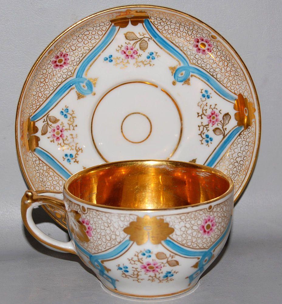 19th c Antique Sevres Type Old Paris Porcelain Cup & Saucer w Gilt ...