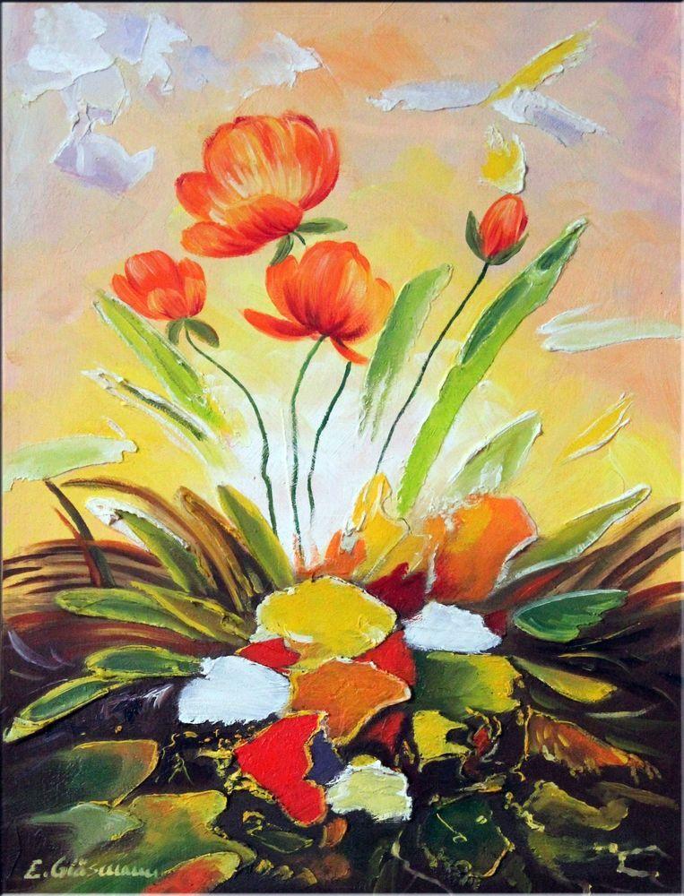 Abstraktes Leinwandbild Modene Malerei Mohnblumen Gespachtelt Gemalde Original Leinwandbilder Abstrakt Abstrakt Wunderschone Blumen