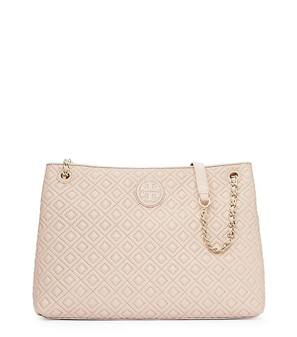 9fddd74f5935 Tory Burch Marion Quilted Chain-shoulder Slouchy Tote - light oat ...