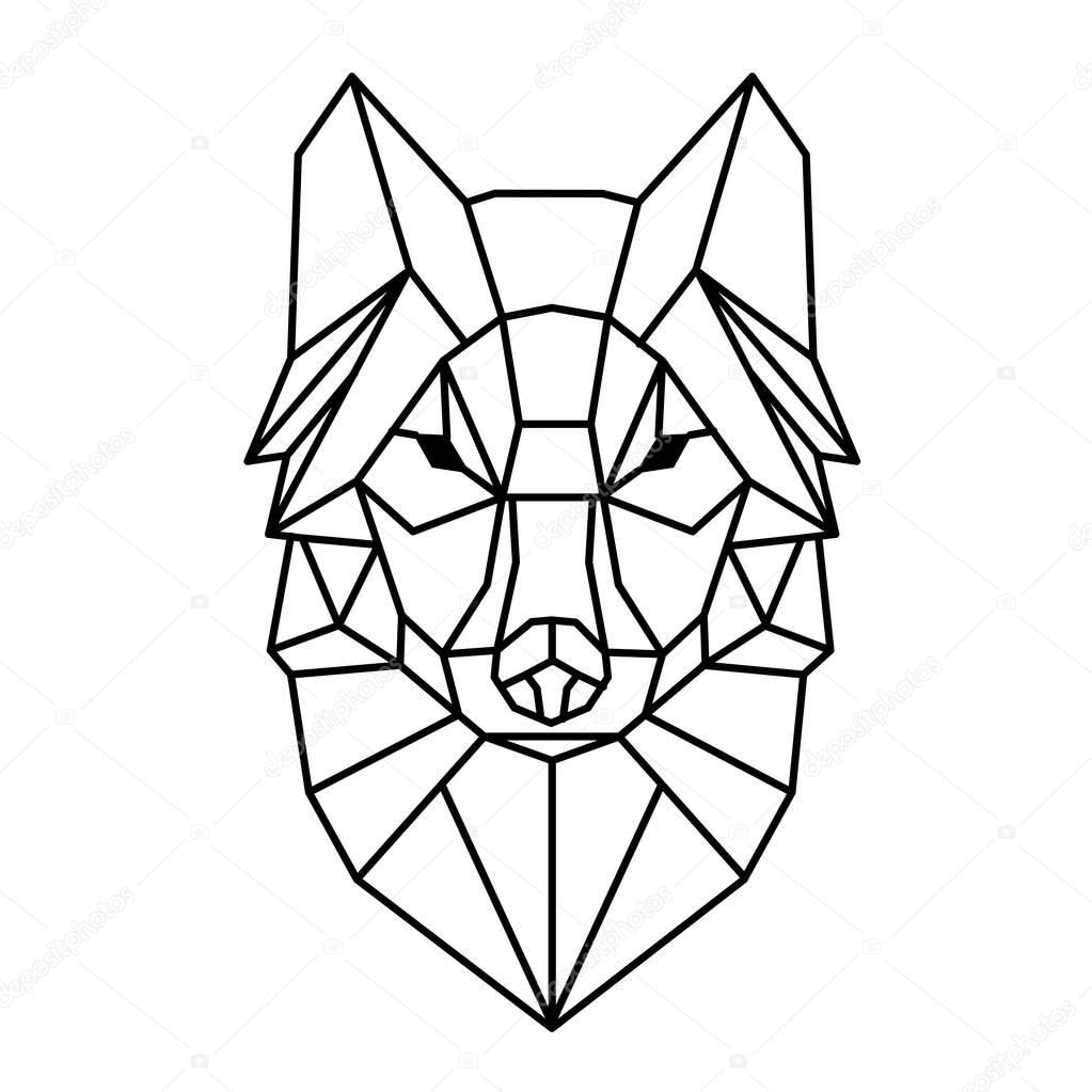 Nowoczesna geometria Wilk projekt tatuaż wektor obrazu