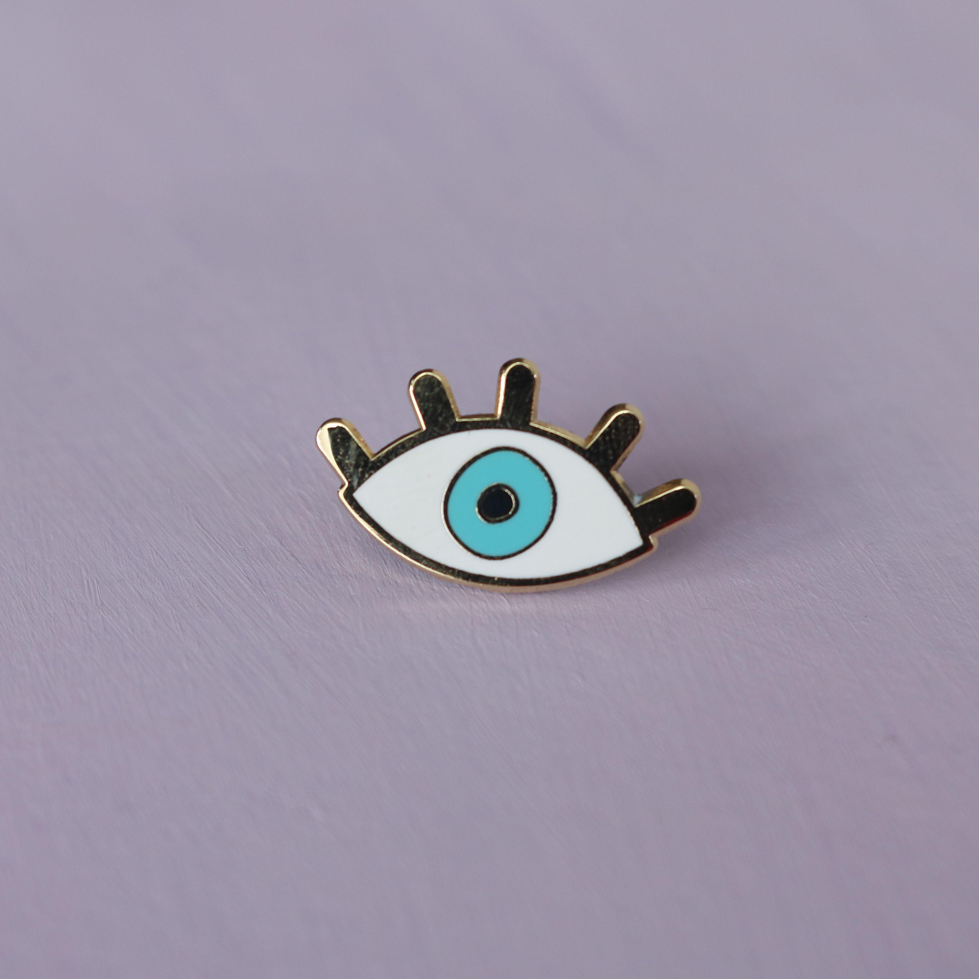 Light Blue Evil Eye Enamel Pin / Metal Badge / Evil Eye
