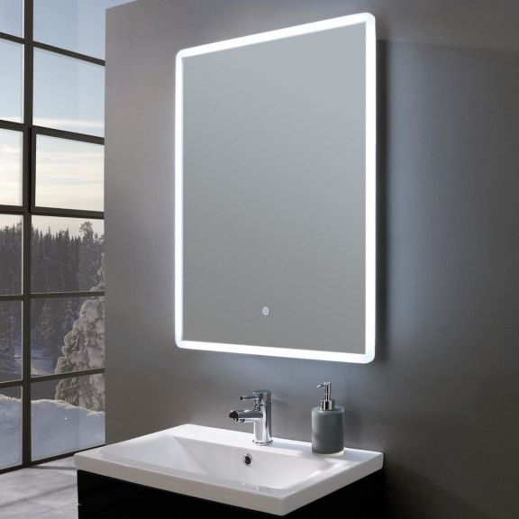 Elegance Ultra Slim Portrait Led Illuminated Mirror With Shaver Socket 600 X 800mm Led Mirror Bathroom Bathroom Mirror Lights Stylish Bathroom