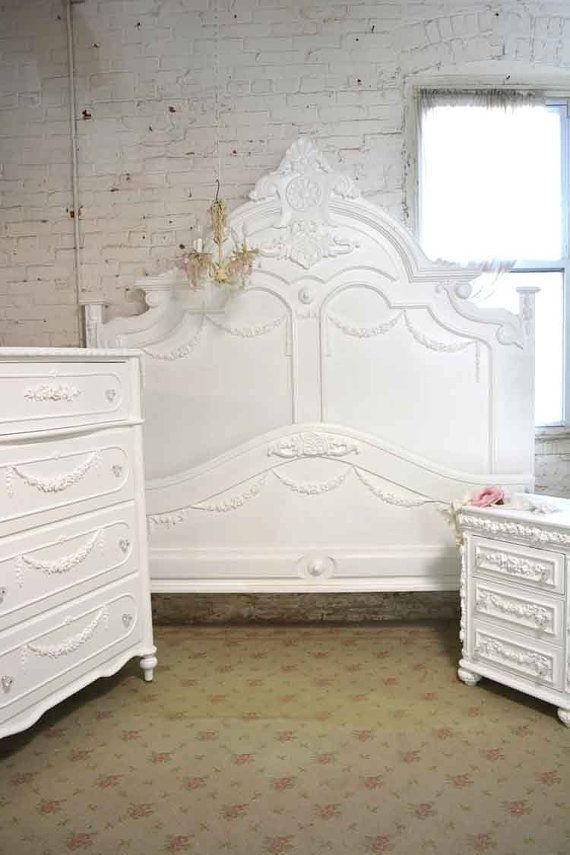 Painted Cottage Shabby Chic French Bed King   Queen   Pinterest     Wow what an amazing complete bed for your romantic boudoir  FEATURES  Super  dramatic high headboard with lots of detail and carvings  Complete