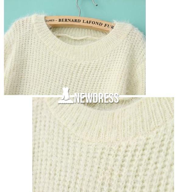 Jersey de invierno mujeres Vintage blanca manga larga jersey caliente suelto puente E