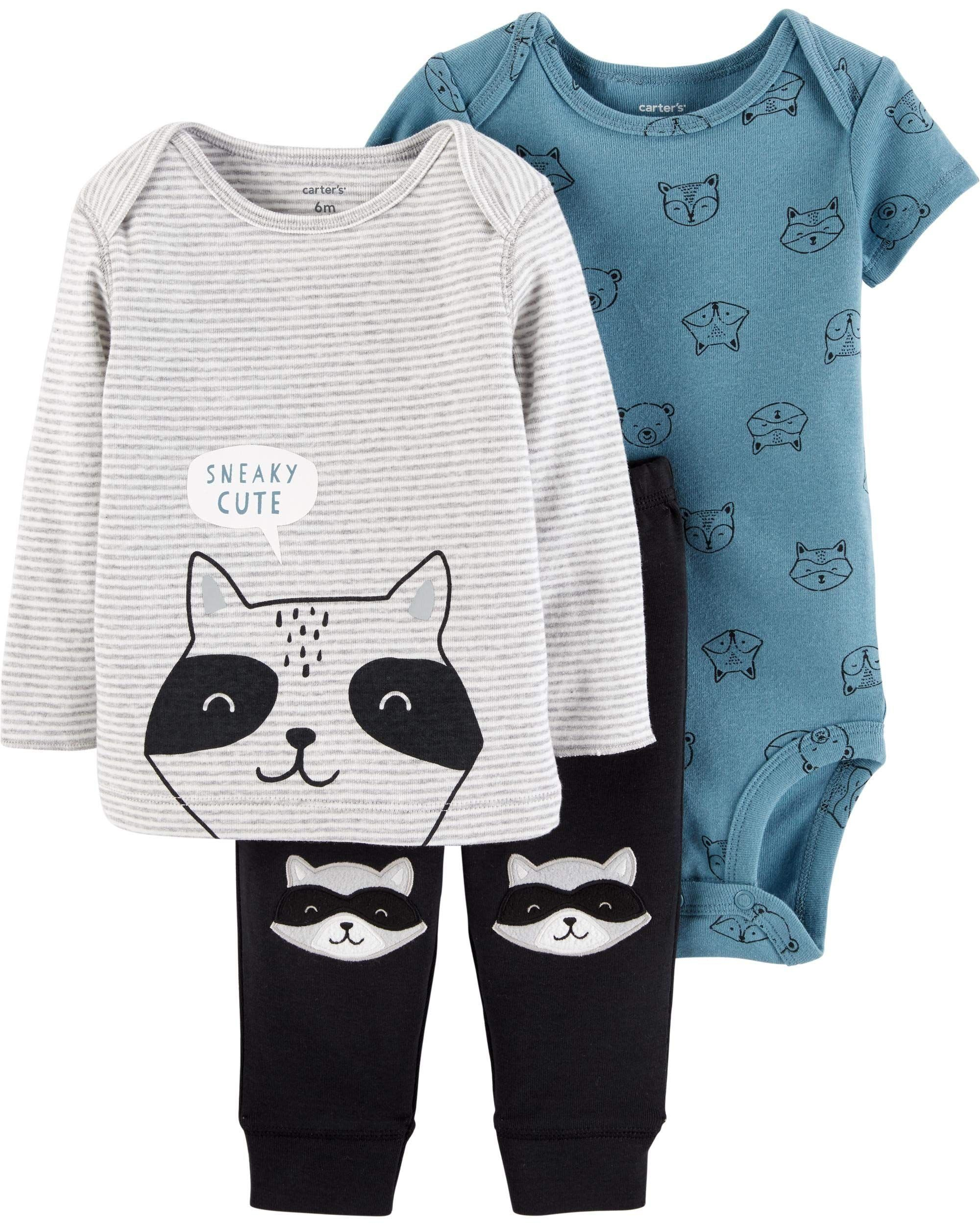 Carter S 3 Piece Little Character Set Raccoon 12 Months See This Great Product Th Carters Baby Boy Clothes Newborn Boy Clothes Baby Boy Clothes Newborn