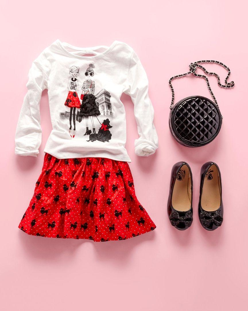 022a7f821bac Girls' fashion   Kids' clothes   Paris graphic tee   Poodle print skirt    Ballet flats   Bag   The Children's Place