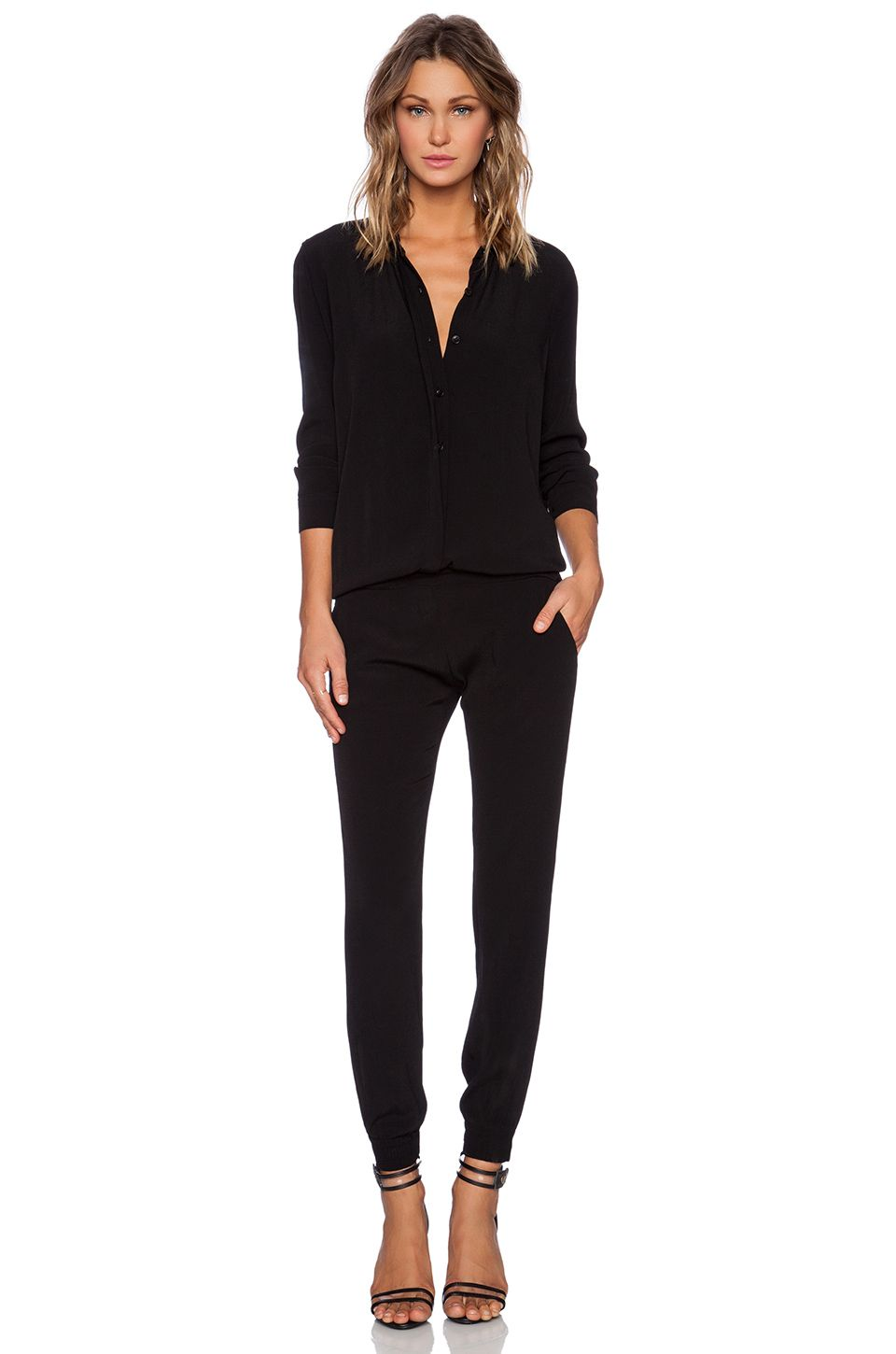 1e11b2baa0d MONROW MONROW CREPE LONG SLEEVE JUMPSUIT IN BLACK. .  monrow  cloth  dress   top  shirt