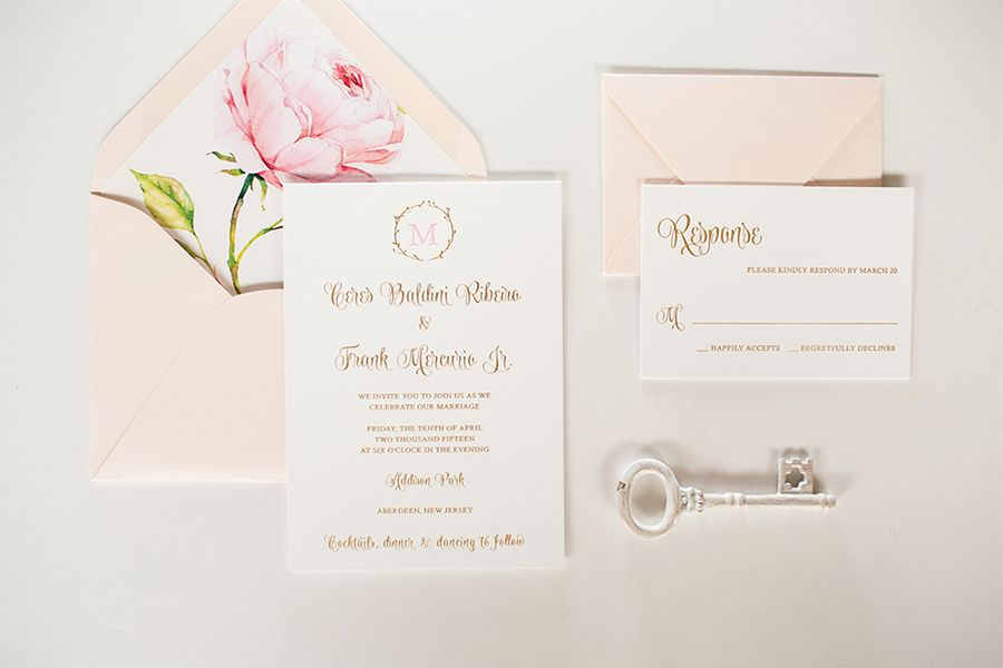 Ceres And Frank Pink Champagne Designs Blush Invitations Classic Wedding Invitations Floral Envelope Liner