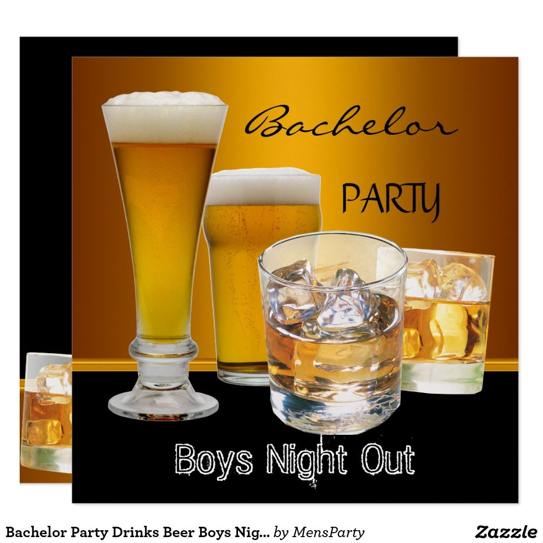 Bachelor Party Drinks Beer Boys Night Out, Card | Bachelor Party ...