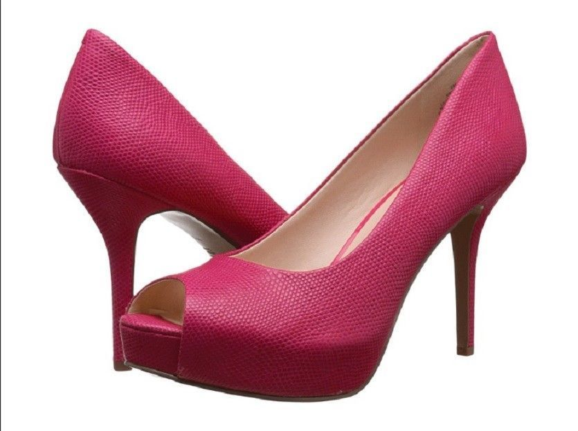 3430f50b37ba Women s Nine West Open-Toe Platform Pumps - QTPIE - Pink Reptile Leather -  New!  Platformpumps