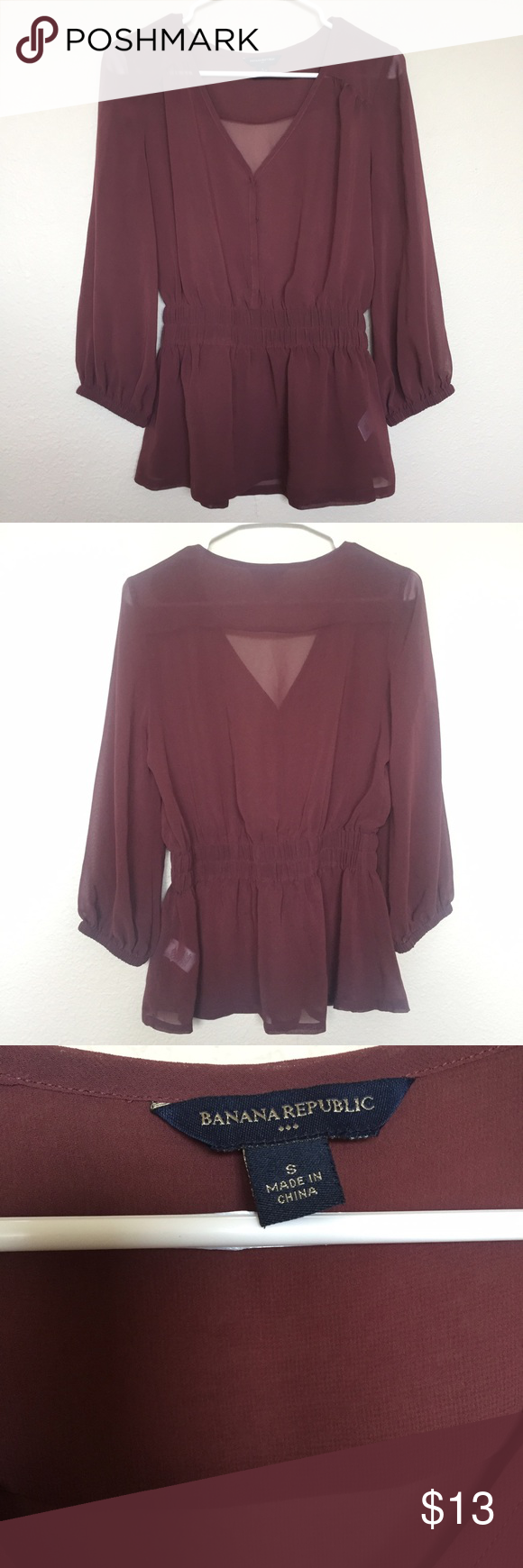 Banana Republic Sheer Blouse This is a dusty burgundy shirt with a 3/4 sleeve, has elastic at the end of the sleeves. Elastic waist, worn a couple of times but still in mint condition. Perfect for work or the day to day life. Free gifts with any purchase from my closet. Banana Republic Tops Blouses