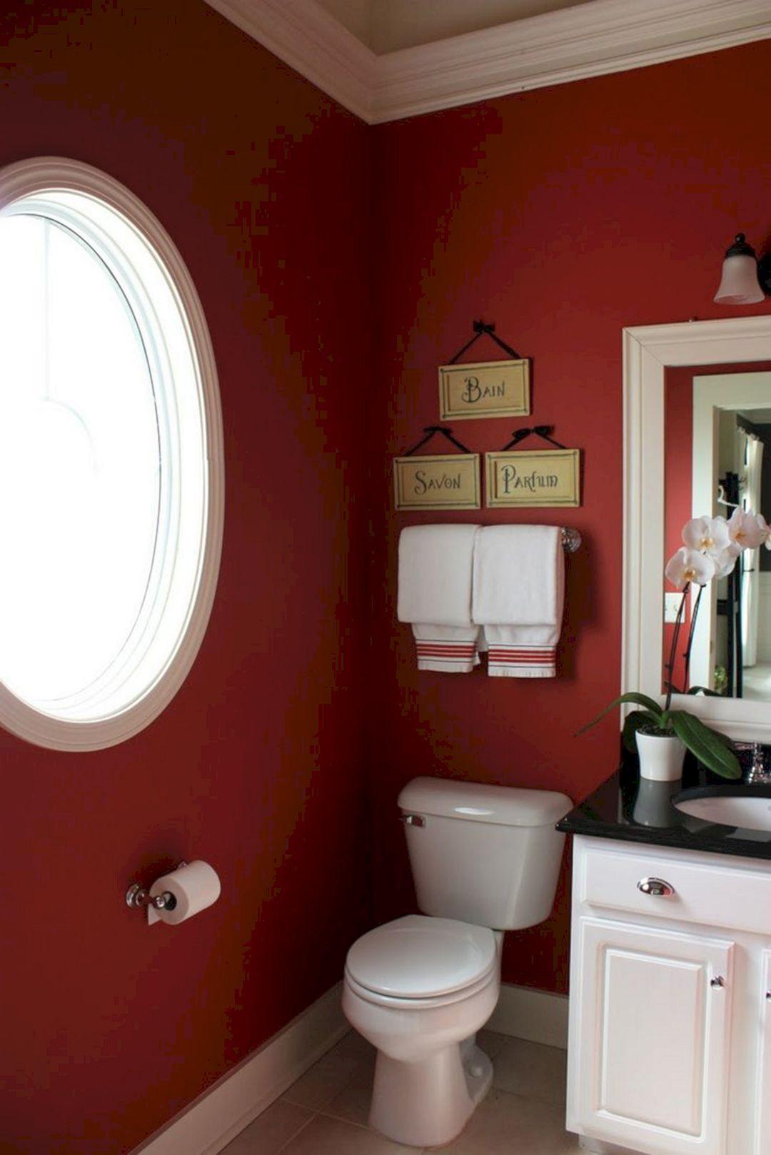 Nice 25 Most Popular Bathroom Color Design Ideas You Need To Copy Https Decoretoo Com 25 Most Popu Red Bathroom Decor Bathroom Inspiration Decor Bathroom Red Red bathroom design ideas