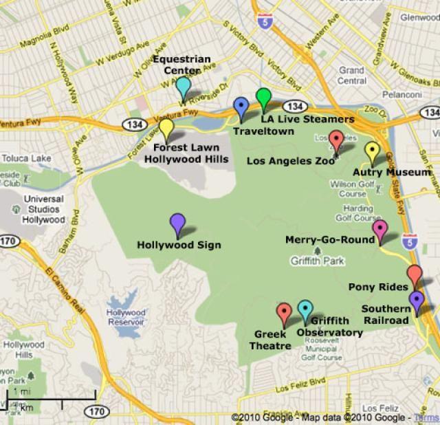 Griffith Park Los Angeles Map.Griffith Park Los Angeles Large Boys With Toys Griffith Park