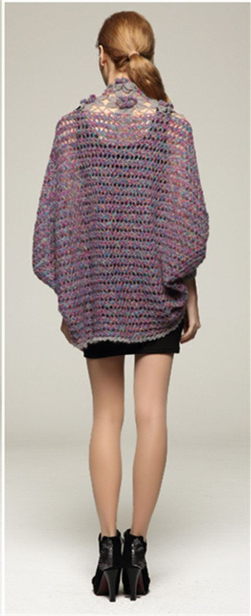 Largo manga crochet cosecha parte superior Medida: Busto: M (34-36 ...