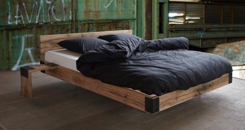 stoer bed oud eiken balken zwevend bed gemaakt van oud eiken
