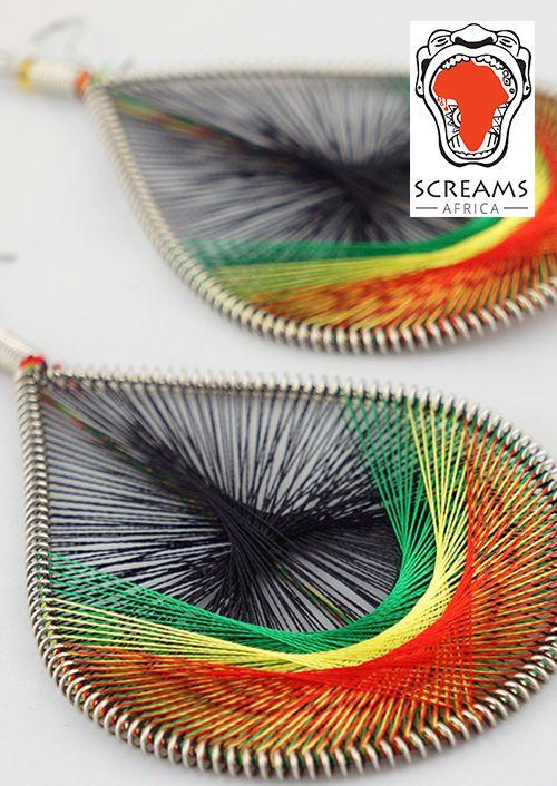 Red Gold Green & Black 4 THREAD EARRINGS