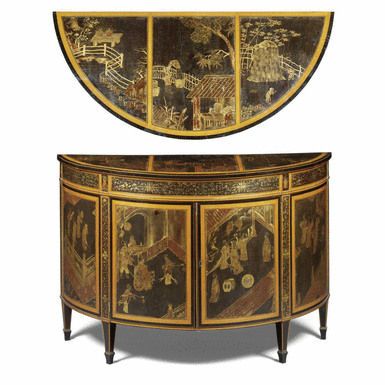 a george iii satinbirch and chinese lacquer demi lune commode circa 1780