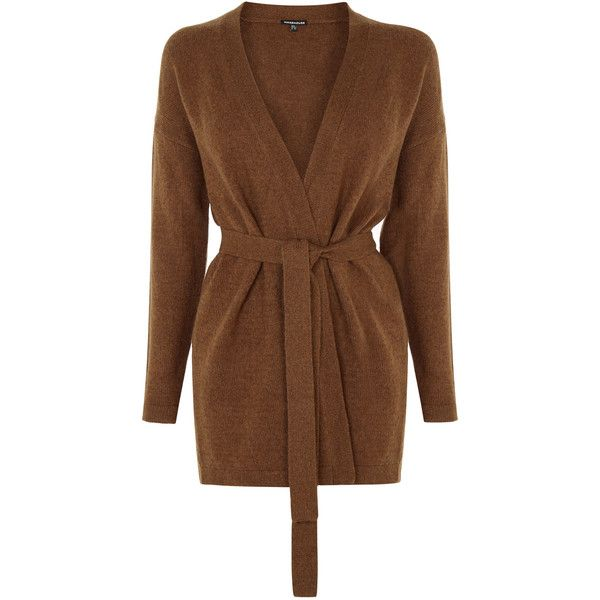 Warehouse Belted Cardi (£46) ❤ liked on Polyvore featuring tops, cardigans, red, cardis, belted cardigan, red cardigan, longline cardigan and brown cardigan