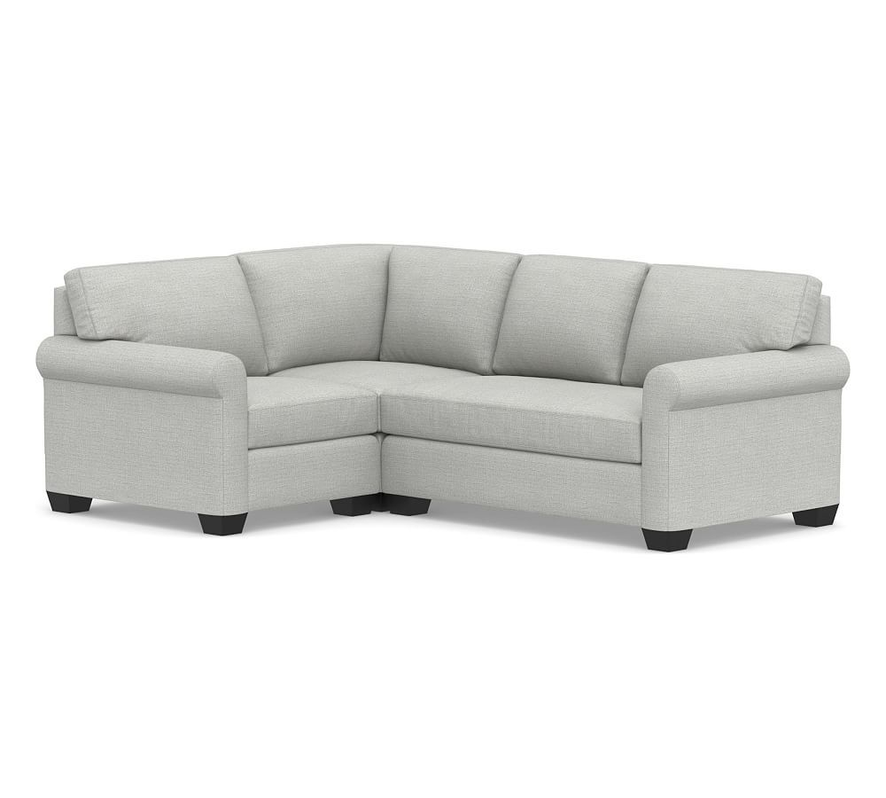 York Roll Arm Upholstered Left Arm 3 Piece Corner Sectional