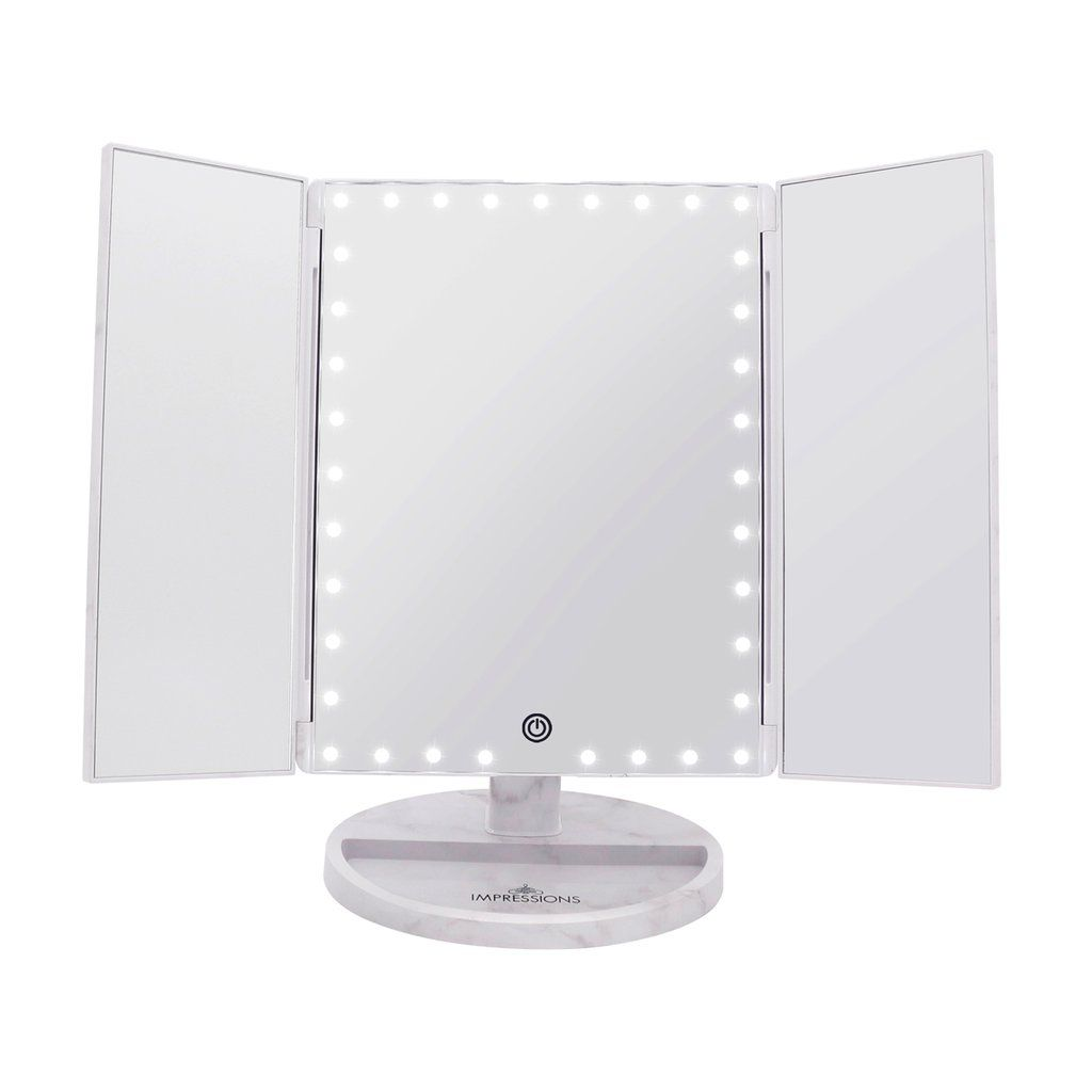 Touch Trifold Xl Dimmable Led Makeup Mirror With Images Led
