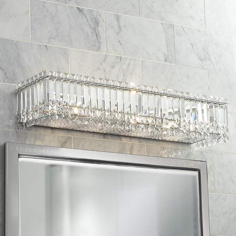 Possini Euro Crystal Columns 30 Wide Chrome Bath Light