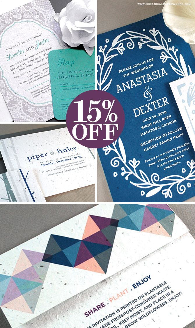 Hey winter #brides, we've got a deal you're going to love! For a limited time, you can get 15% off ALL of our eco-friendly #seedpaper #weddinginvitations! See full details here and be sure to order soon!
