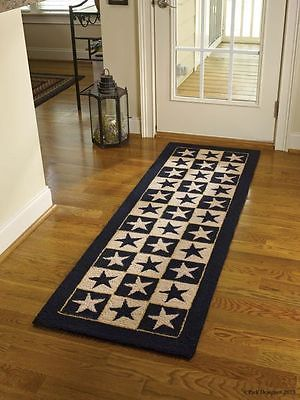 Country Primitive Hand Hooked Rug Black Tan Star Park Designs Nice