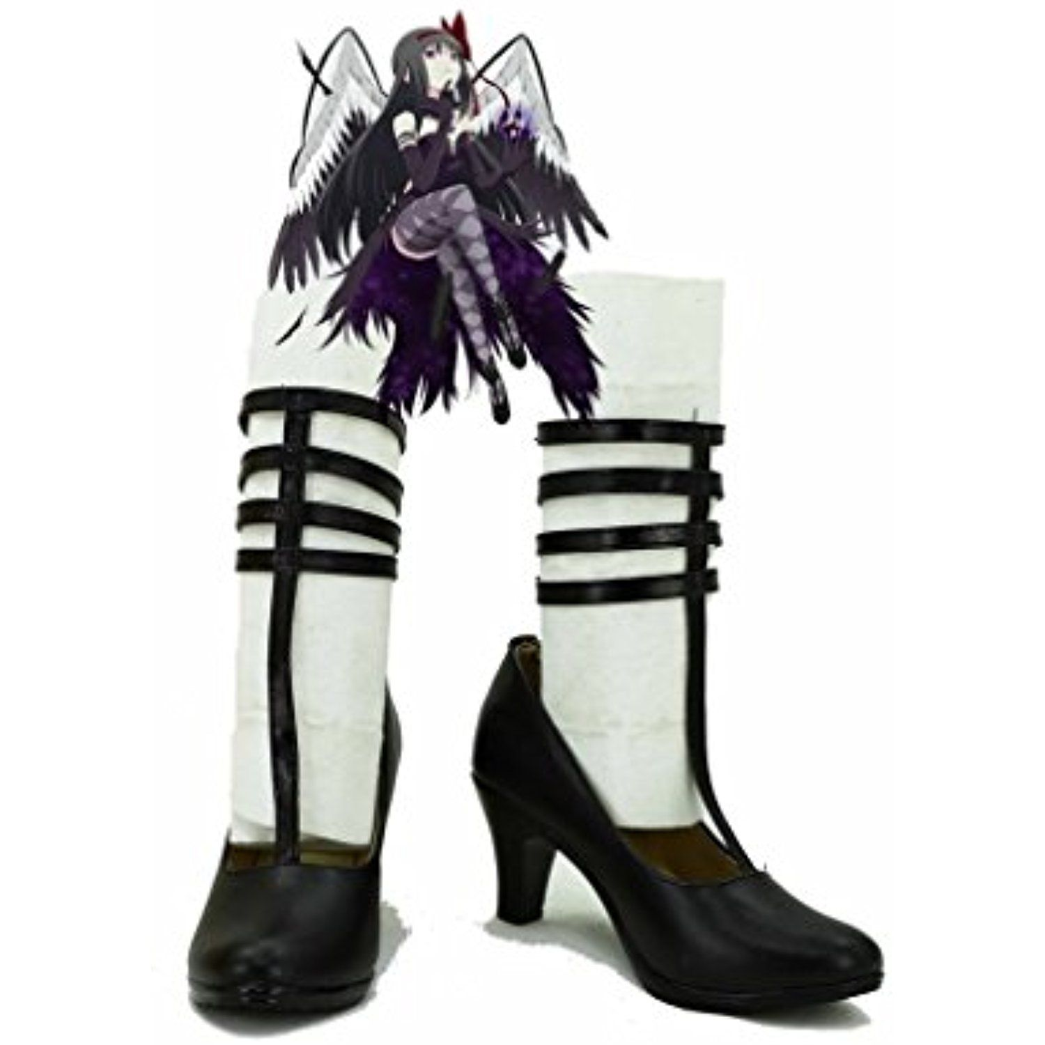 Puella Magi Madoka Magica Homura Akemi Devil-Version Shoes Boots Custom Made Black