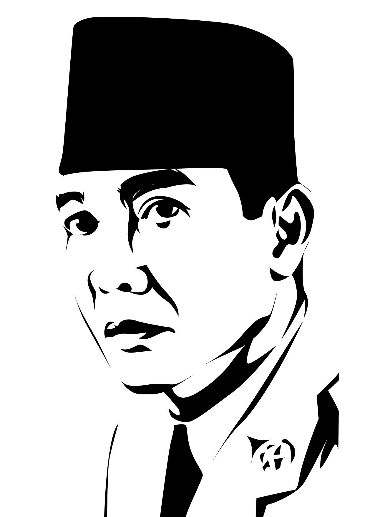 First President Indonesian Republic Ir Soekarno WPAP Art Vector