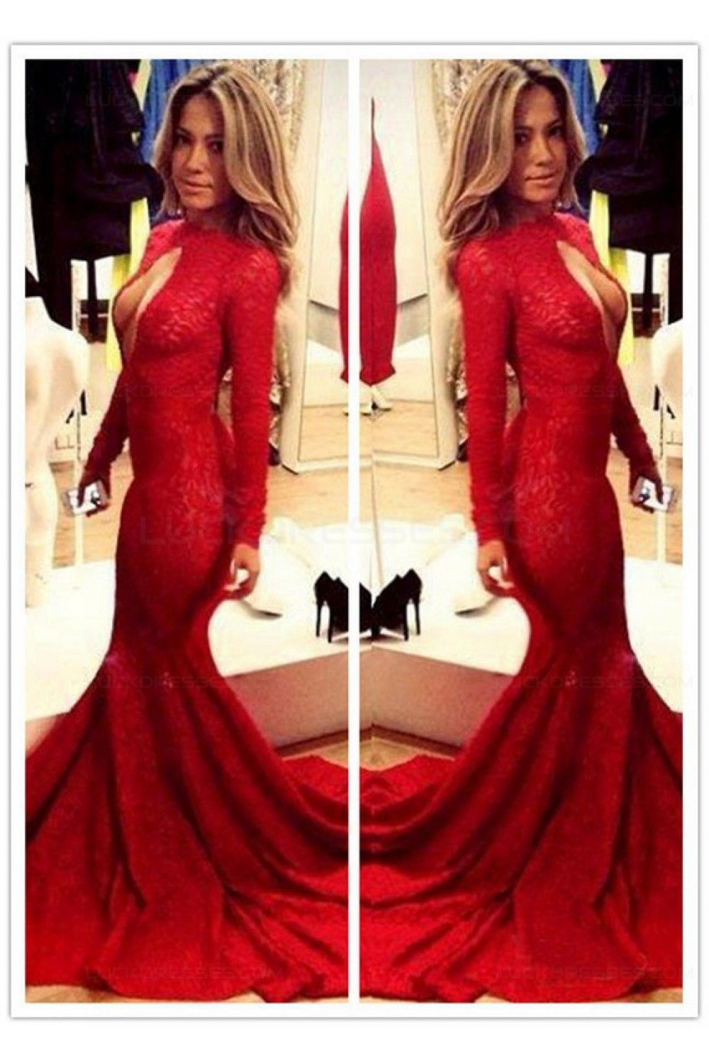 Red mermaid lace long sexy high neck prom evening formal dresses