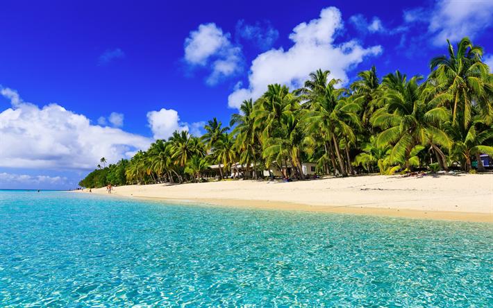 Download Wallpapers Tropical Islands Summer Ocean Sea Beach Palm Trees Besthqwallpapers Com Best Honeymoon Destinations Beautiful Islands Honeymoon Destinations