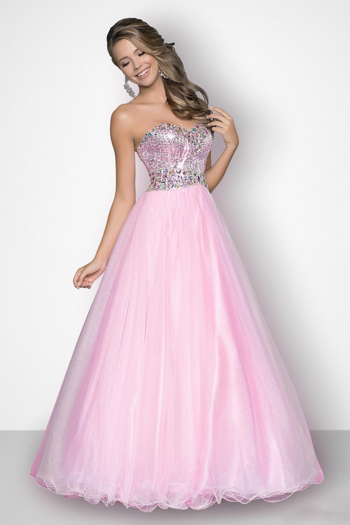 Silver and Pink Ball Gown Prom Dress, I would totally wear this ...