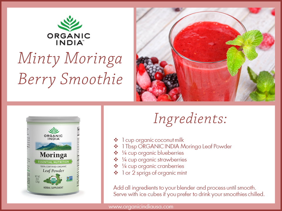 Try this refreshing and delicious Minty Berry Smoothie, complete with all of the fantastic nourishment of organic superfood Moringa!