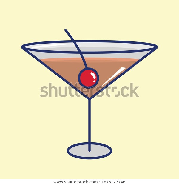 Cocktail Glass Icon Character Isolated On Stock Vector Royalty Free 1876127746 Cocktail Glass Royalty Free Icon