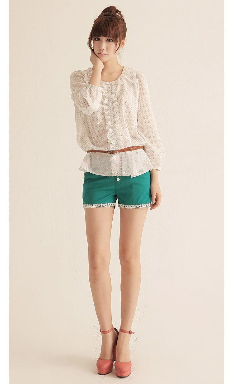 Green Fitted Super Short Korean Fashion Summer Pants