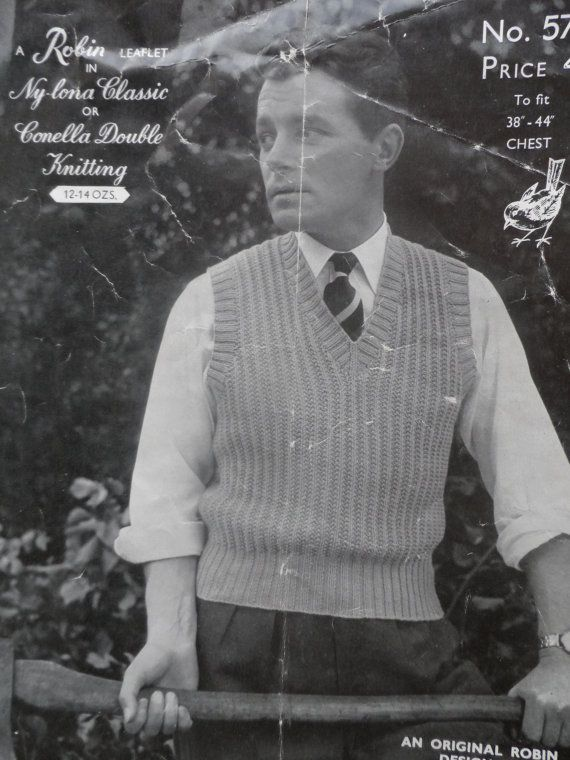 PDF File Vintage Robin Knitting Pattern 573 Man's Sleeveless Pullover on Etsy, £1.49