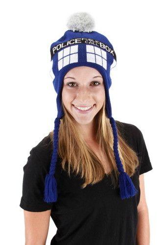 Doctor Who Tardis Image Knitted Laplander Hat
