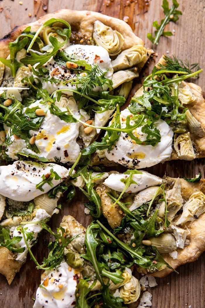 Artichoke Pesto and Burrata Pizza with Lemony Arugula | halfbakedharvest.com
