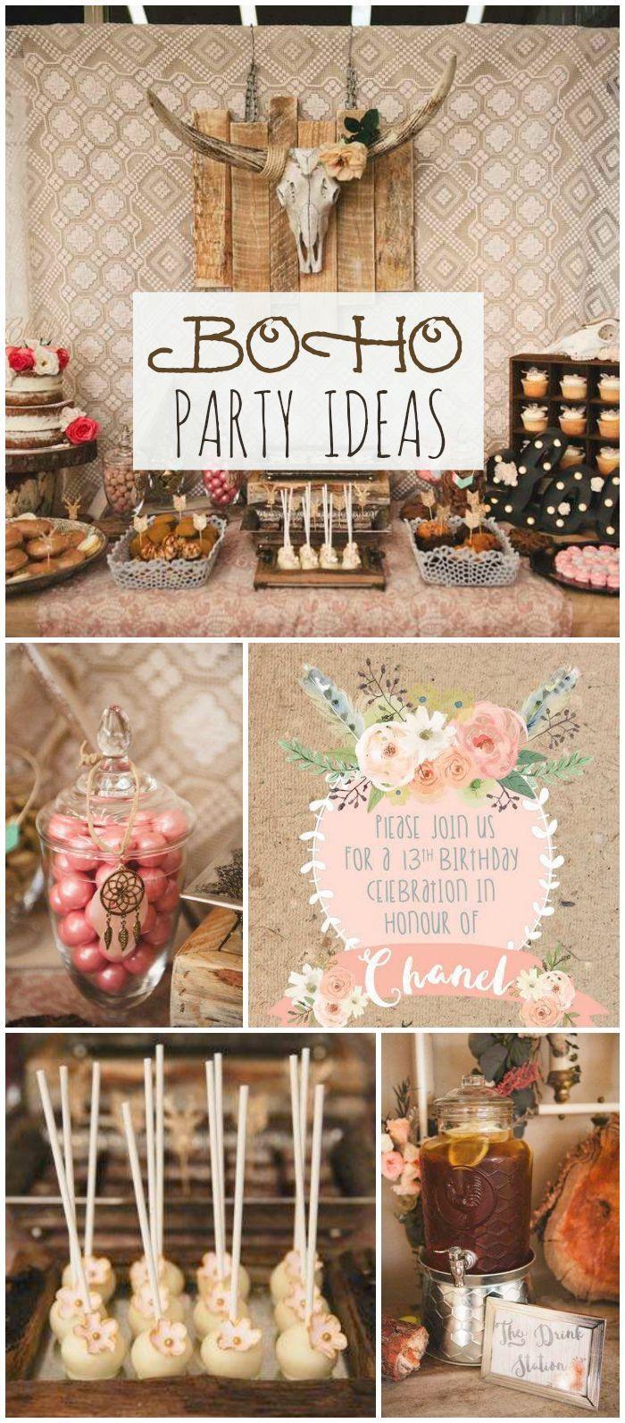 Bohemian gypsy birthday chanel 39 s boho 13th boho chic for Wedding party ideas themes